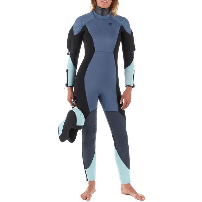 Traje Buceo Subea SCD500 Mujer Neopreno Semiseco 7 MM Agua Fría Azul