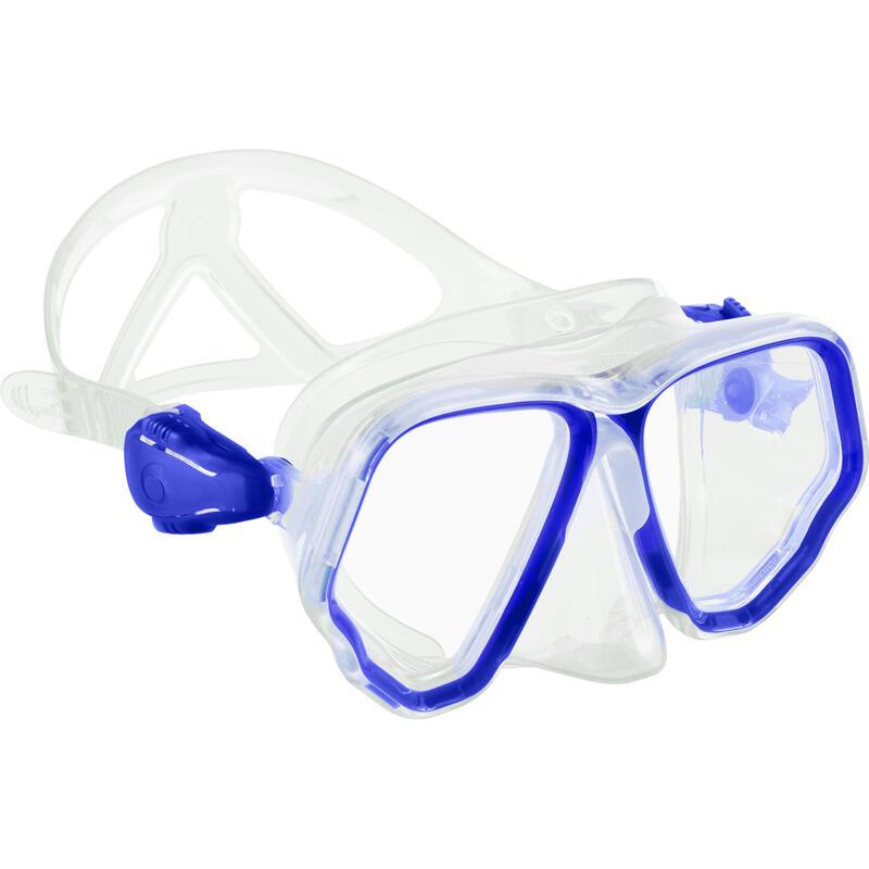 Duikbril voor diepzeeduiken met tweedelige lens SCD 500 felblauw