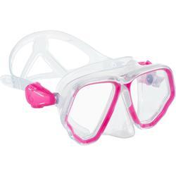 Duikbril SCD 500 met twee glazen transparante mantel en roze rand