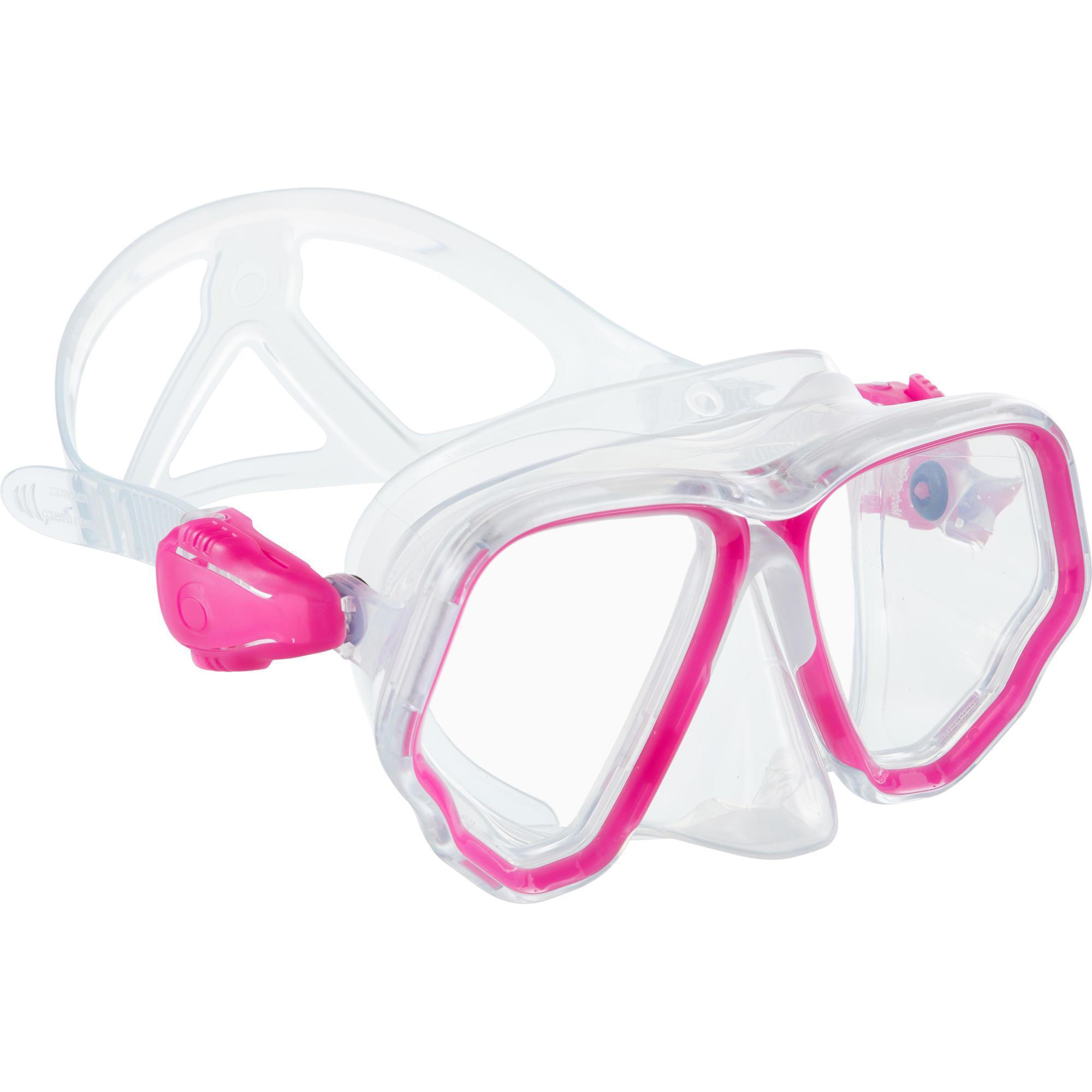 Masque de plongée sous marine SCD 500 Bi-hublot jupe cristal et rose - Subea