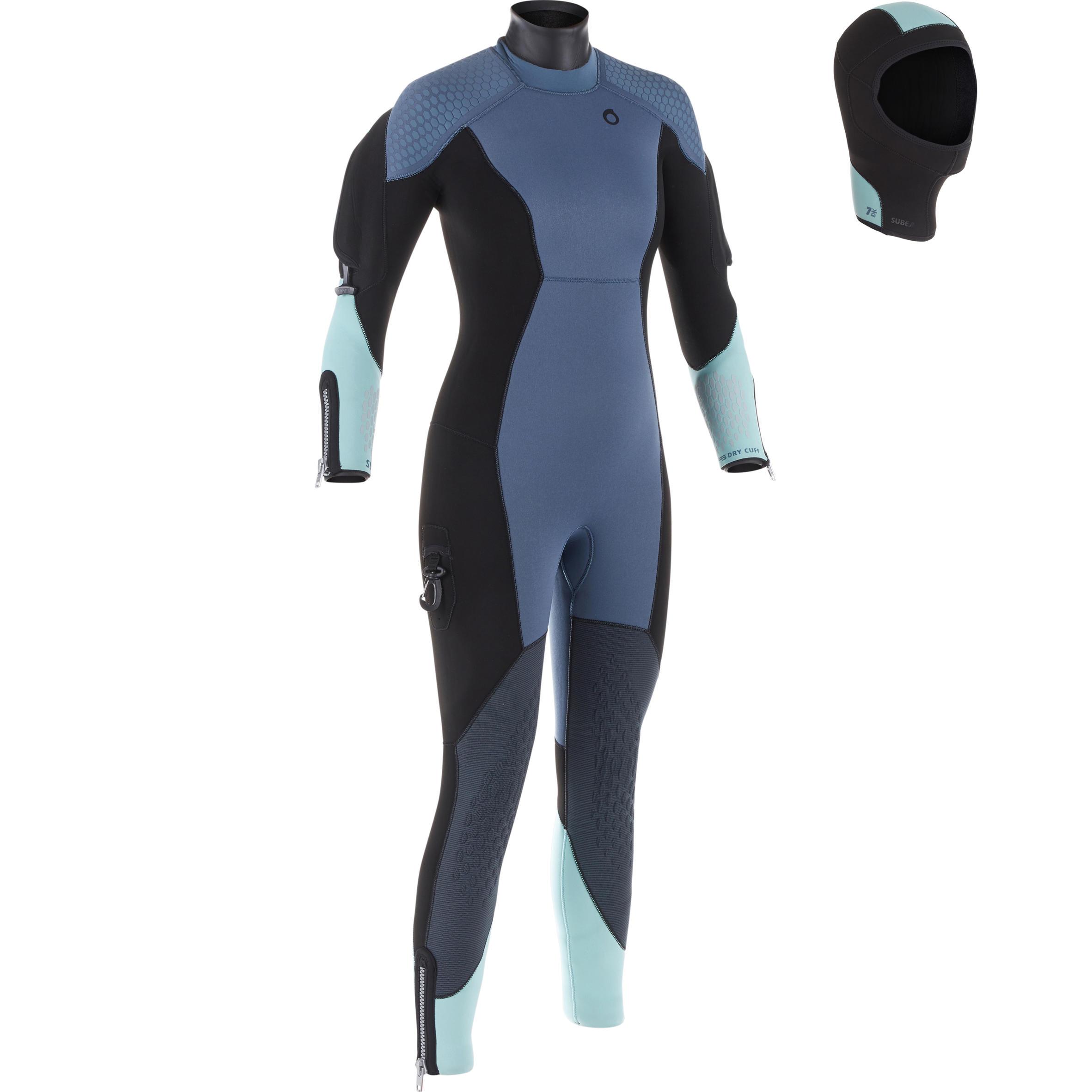 Neoprenanzug halbtrocken SCD 500 Tauchen Neopren 7 mm für kalte Gewässer Damen | Sportbekleidung > Sportanzüge | Blau | Polyester | Subea