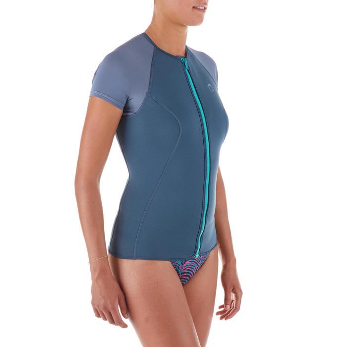 Top de snorkeling 1,5mm SNK 100 femme gris vert