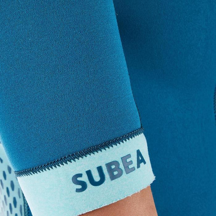 Shorty de plongée sous-marine SCD 500 néoprène 3mm Femme bleu ciel