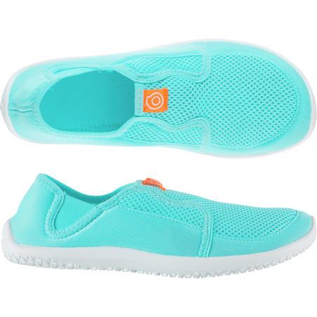 Zapatos acuáticos Cangrejeras Tenis de Snorkel 120 adulto turquesa claro