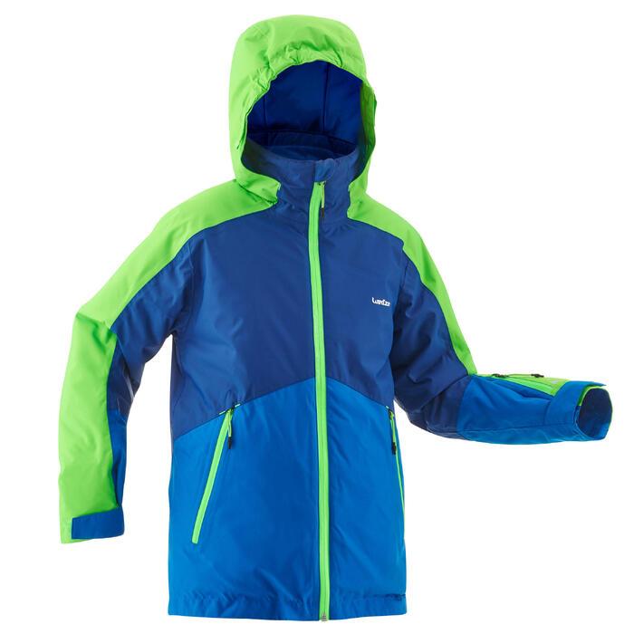 neueste detaillierte Bilder populäres Design Skijacke 580 Kinder blau/neongrün