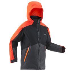 Ski-jas voor kinderen SKI-P JKT 580 zwart en fluo-oranje