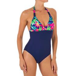 Bañador Deportivo Surf Olaian Clea Mujer Espalda Abierta Anudado Cuello Flores