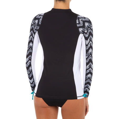 Women's long-sleeve UV Protection Surfing Top T-Shirt 500 black and white