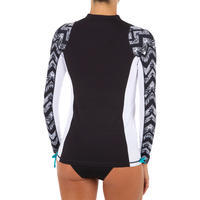 Women's Long-Sleeved UV Protection Surfing Top T-Shirt 500 Black and White