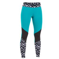 LEGGINGS SURF ANTI-UV 500 MUJER M NEGRO Y TURQUESA