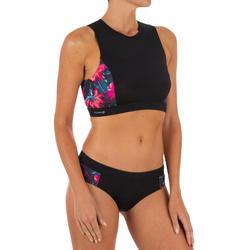 Top Bikini Camiseta Surf Cremallera Espalda Olaian Carla Mujer Negro Coral fluor