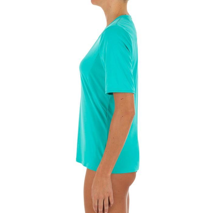 UV-werend zwemshirt met korte mouwen voor dames, voor surfen, turquoise