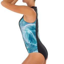 Bañador Completo Surf Olaian Carla Mujer Cremallera Espalda Negro Palmeras Azul
