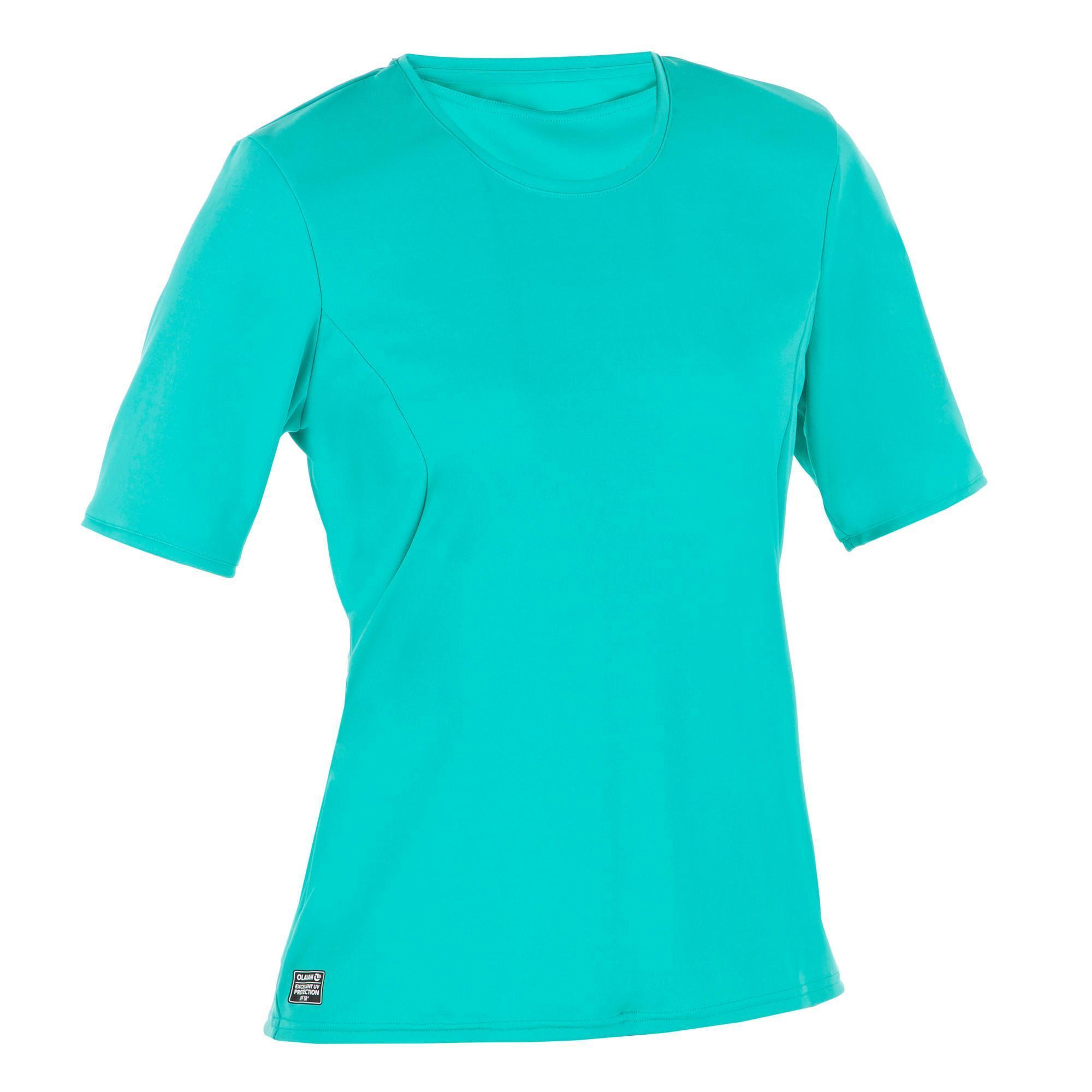 Olaian UV-werend zwemshirt met korte mouwen voor dames, voor surfen, turquoise