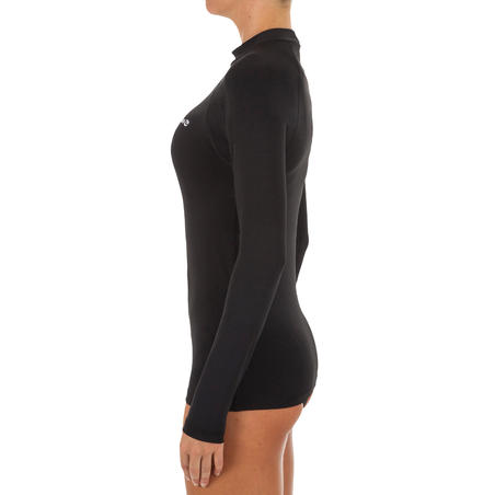 Жіноча сонцезахисна футболка для серфінгу, з коротким рукавом - Чорна