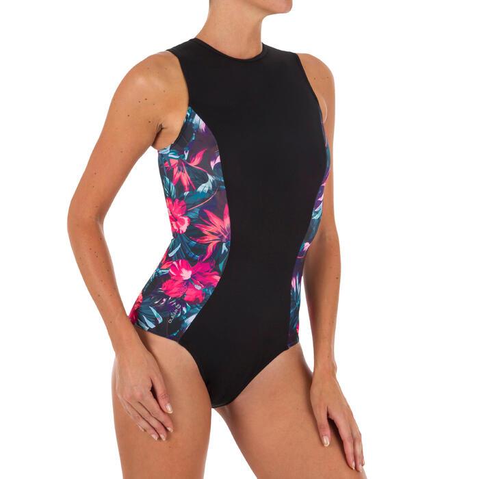 Bañador Completo Surf Olaian Carla Mujer Cremallera Espalda Negro Flores Rosas