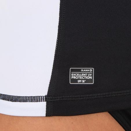 T-shirt Atasan Selancar Perlindungan UV lengan panjang Wanita 500 hitam putih