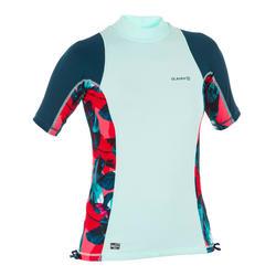 Camiseta con protección UV top de surf manga corta 500 mujer verde y negro