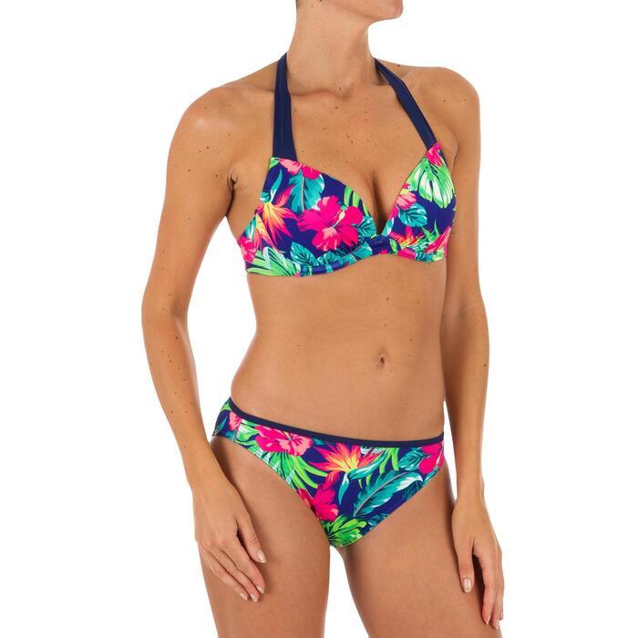 Top Bikini Surf Sujetador Push Up Olaian Elena Mujer Copas Fijas Flores Fluor