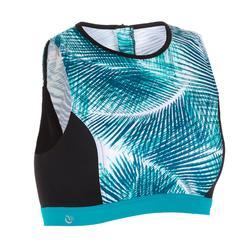 Top Bikini Camiseta Surf Cremallera Espalda Olaian Carla Mujer Reductor Palmeras