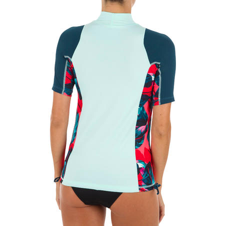500 Women's Short Sleeve UV Protection Surfing Top T-Shirt green and black