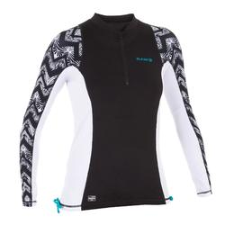 Top Camiseta Proteción Solar Playa Surf Olaian Uvtop500L Mujer Negro Blanco