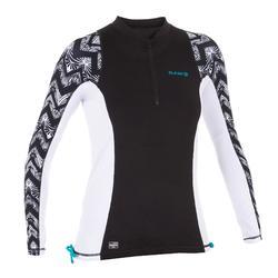 tee shirt anti uv surf top 500 manches longues femme noir et blanc