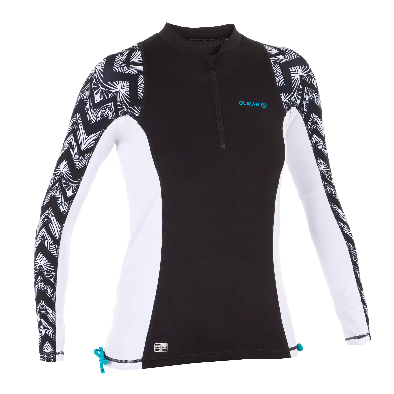 Tee Et Noir Shirt Manches Anti Uv Surf Top Longues 500 Femme Blanc QCxBthdsro