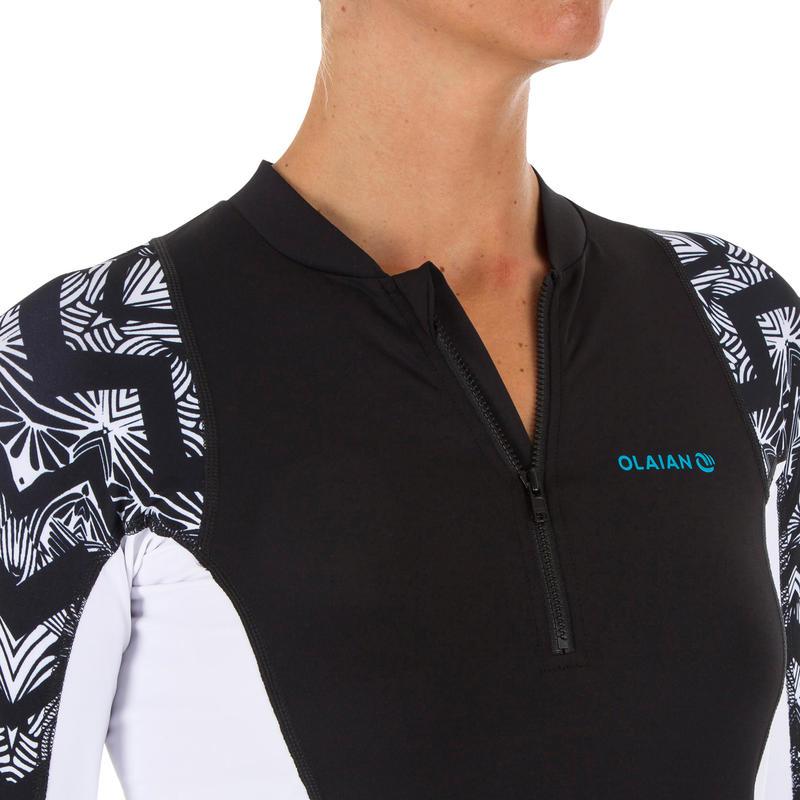 เสื้อโต้คลื่นแขนยาวป้องกันรังสียูวีสำหรับผู้หญิงรุ่น 500 (สีดำและขาว)