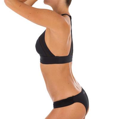 Isa Women's Surfing Crop Top Swimsuit Top with Very Open Back - Black