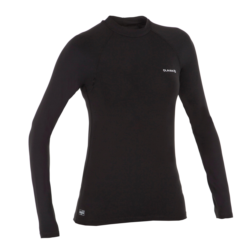 UV-Shirt langarm 100L Surfen Damen schwarz | Bekleidung > Bademode > Strandbekleidung | Schwarz | Olaian