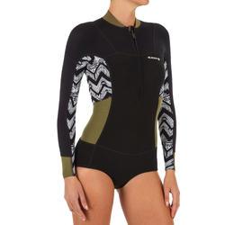 Shorty de surf mujer con manga larga y cremallera delante