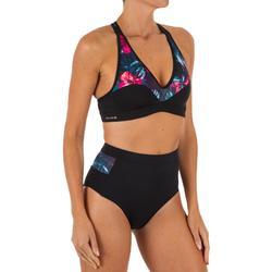 Top Bikini Surf Sujetador Deportivo Espalda Olaian Ana Mujer Negro Flores Fluor