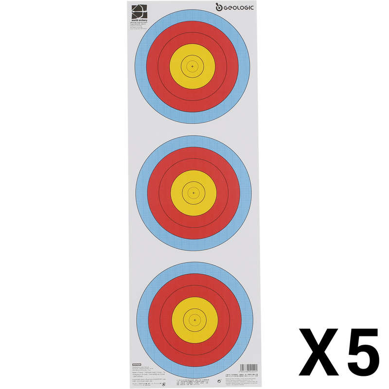 ARCHERY TARGETS,TARGET FACES,STANDS Archery - Trispot Archery Target Face x5 GEOLOGIC - Archery