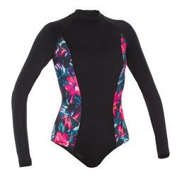一件式長袖泳裝(附背部拉鍊)Dani-植物款