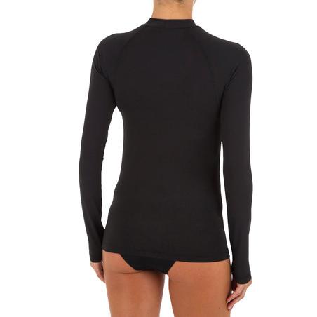 Playera anti-UV de surf manga larga mujer negra