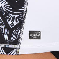 Camiseta Manga Corta Antirayos UV Surf Top 500 Mujer Turquesa Blanco