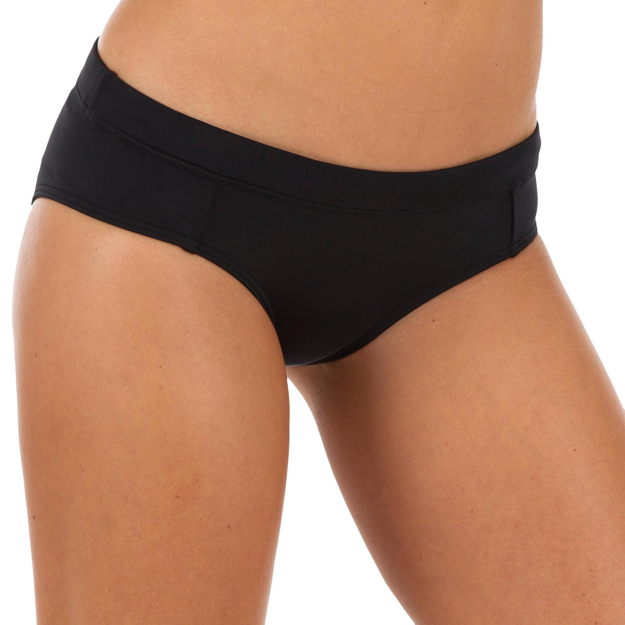 Olaian Bikinibroekje Vali zwart met aantreklintje