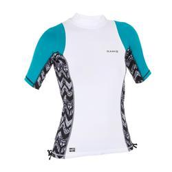 Camiseta anti-UV de surf top 500 manga corta mujer turquesa y blanco