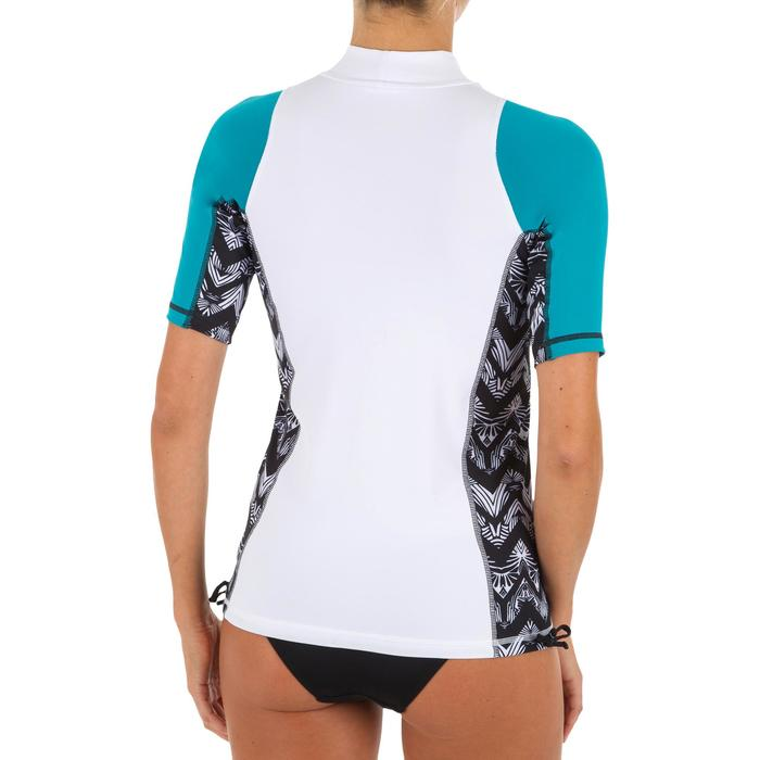 tee shirt anti uv surf top 500 manches courtes femme turquoise et blanc