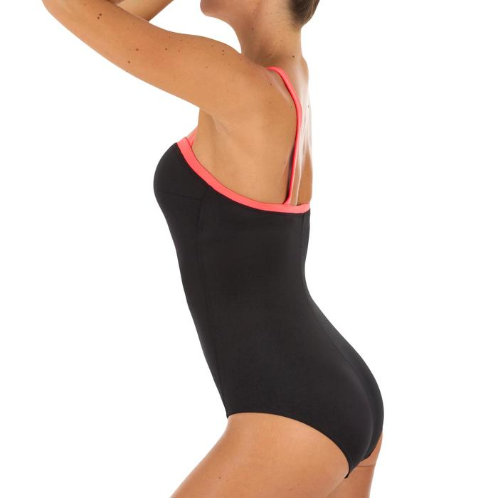 Bañador Deportivo Surf Olaian Puka Mujer Escote Top Espalda Recta Negro Coral