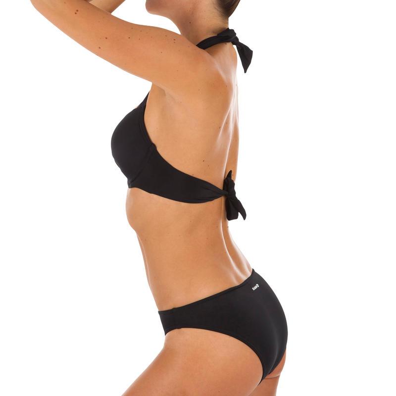 ชุดว่ายน้ำดันทรงพร้อมคัพเสริมทรงแบบถอดไม่ได้สำหรับผู้หญิงรุ่น Elena (สีดำ)