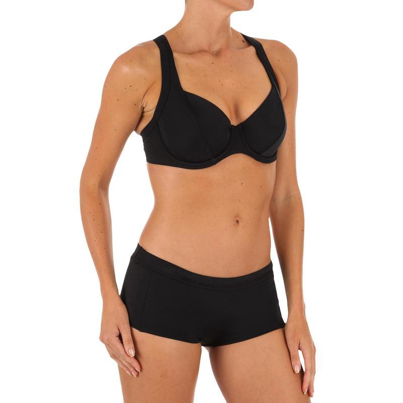 0492959a63bd7 Bas de maillot de bain shorty de surf femme AVEC CORDON DE SERRAGE VAIANA  NOIR
