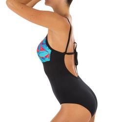 Bañador Deportivo Surf Olaian Cloe Mujer Escote Redondo Espalda Moldeable Flores