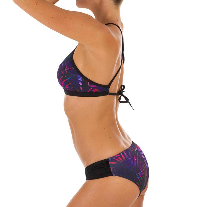 Braga Bikini Surf Pequeña Olaian Niki Palmi Mujer Plisado Lateral Negro Fluor