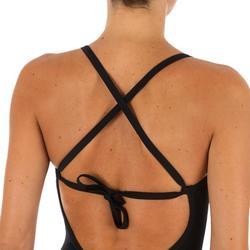 High neck damesbadpak met gekruiste rug Andrea zwart met uitneembare pads