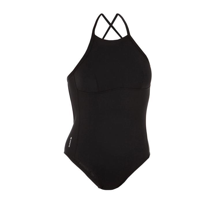 Badeanzug Andrea Bustier gekreuzte Rückenträger Damen schwarz