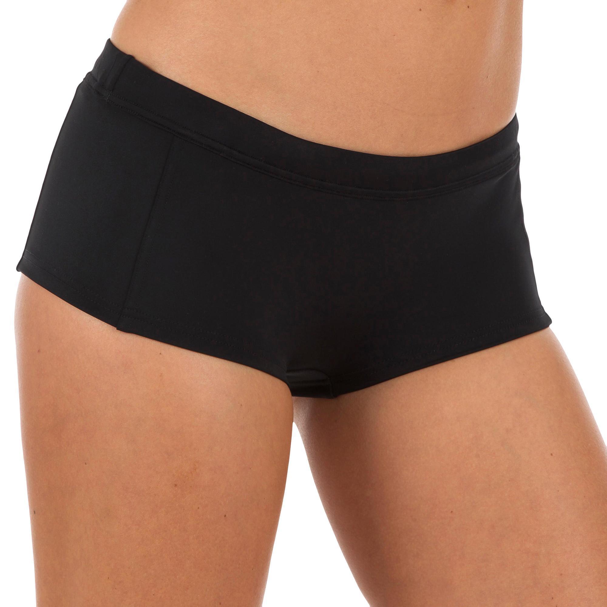 Olaian Bikinibroekje met shortymodel Vaiana zwart met aantrekkoordje