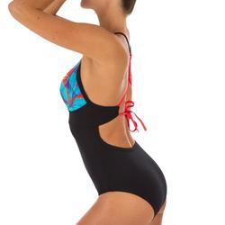 Bañador Deportivo Surf Olaian Bea Mujer Doble Ajuste Espalda Escote Negro Azul