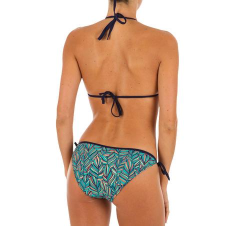 Top Bikini Triángulos Corredizos Olaian Mae Mujer Copas Desmontables Azul Dorado